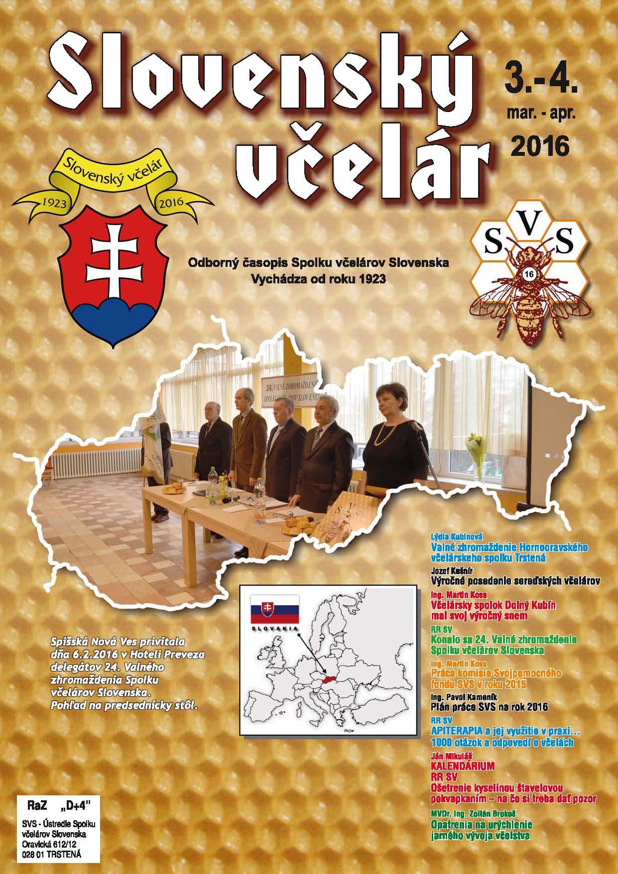Slovenský včelár 3-4/2016